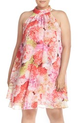 Plus Size Women's Eliza J Floral Chiffon Double Layer Trapeze Dress