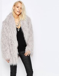 Religion Quartz Faux Fur Coat Grey