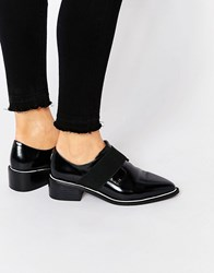 Asos Mix It Up Elastic Detail Pointed Flat Shoes Black