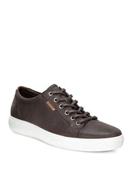 Ecco Soft 7 Perforated Leather Sneakers Brown