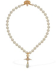 Vivienne Westwood One Row Faux Pearl Drop Choker Gold