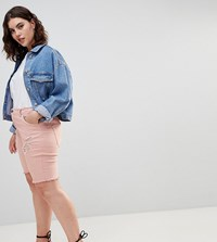 Zizzi Denim Short With Raw Edge And Rips Mellow Rose Pink
