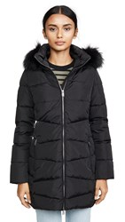 Add Down Coat With Detachable Fur Hood Black