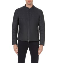 Armani Collezioni Quilted Leather Bomber Jacket Navy