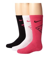 Nike Dri Fit Fly Crew 3 Pair Pack Vivid Pink Black White Vivid Pink Black Vivid Pink Crew Cut Socks Shoes Multi