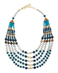 Nakamol Multi Strand Beaded Collar Necklace Blue Mix