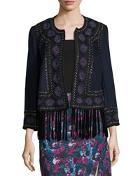 Haute Hippie Embroidered Suede Trim Wool Coat Midnight