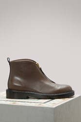 Marni Leather Flat Ankle Boots Chocolate Black