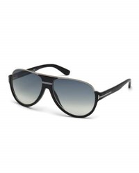 Tom Ford Dimitry Half Rim Aviator Sunglasses Matte Black Shiny Dark Ruthenium Gradient Blue
