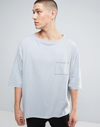 Asos Extreme Oversized Boxy 3 4 Sleeve T Shirt With Boat Neck And Wide Sleeves Green