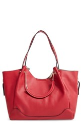 Sondra Roberts Faux Leather Satchel Red