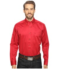 Ariat Solid Twill Shirt Rouge Men's Long Sleeve Button Up Red