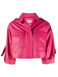 Red Valentino Redvalentino Cropped Leather Jacket Pink