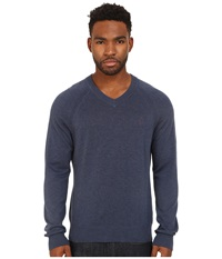 Original Penguin Long Sleeve Raglan Jersey V Neck W Raglan Dark Denim Men's Sweater Navy