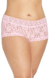 Hanky Panky Plus Size Women's Stretch Lace Boyshorts Blossom Pink