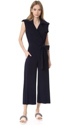 Norma Kamali Double Breasted Trench Jumpsuit Midnight