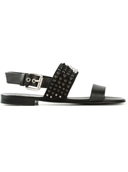 Giuseppe Zanotti Design Double Strap Studded Sandals Black