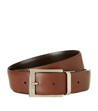 Canali Reversible Textured Leather Belt Unisex Multi