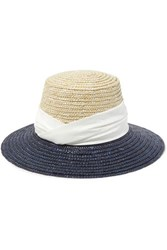 Eugenia Kim Stevie Satin Trimmed Two Tone Straw Hat Navy