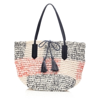 J.Crew Woven Market Tote White Red Navy
