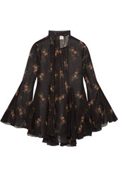 Zimmermann Folly Floral Print Swiss Dot Silk Blend Chiffon Blouse Black
