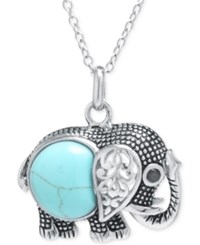 Macy's Manufactured Turquoise Elephant Necklace In Sterling Silver