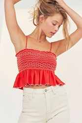 Kimchi And Blue Contrast Stitch Ruched Babydoll Tank Top Red