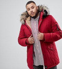 Sixth June Parka Coat In Red With Black Faux Fur Hood Exclusive To Asos