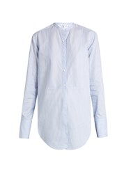 Helmut Lang Striped Oxford Cotton Shirt Blue