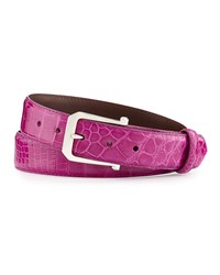 W.Kleinberg Glazed Alligator Belt With 'The Paisley' Buckle Magenta Made To Order Pink
