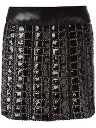 Chanel Vintage Sequined Check Skirt Black