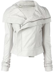 Rick Owens Leather Jacket White