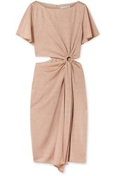 Rachel Zoe Pauline Cutout Gathered Metallic Stretch Knit Dress Blush