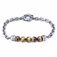 Anchor And Crew Brown Tigers Eye Stern Stone Silver Bracelet