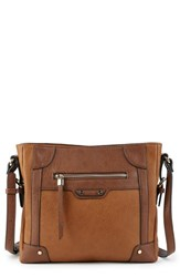 Sole Society Essential Flat Faux Leather Crossbody Bag Brown Cognac Combo