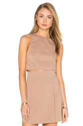 Twin Sister Button Strap Crop Top Brown