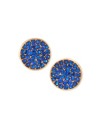 Jules Smith Designs Blue Pave Disc Studs Jules Smith Yellow Gold Blue