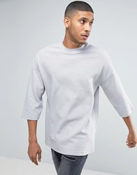 Asos Oversized T Shirt With 3 4 Sleeve And Turtle Neck In Rib Grey