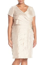 Plus Size Women's London Times Embellished Side Drape Shimmer Sheath Dress
