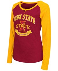 Colosseum Women's Iowa State Cyclones Healy Raglan Long Sleeve T Shirt Cardinal Red Gold