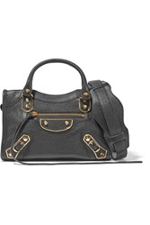 Balenciaga City Metallic Edge Mini Textured Leather Tote Black