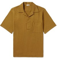 Camoshita Camp Collar Slub Cotton Jersey Polo Shirt Yellow