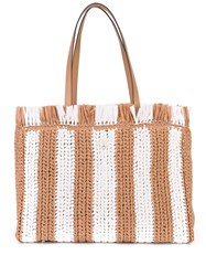Kate Spade Striped Straw Large Tote Brown