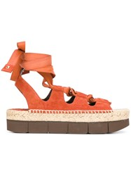 Paloma Barcelo Platform Tied Up Sandals Yellow Orange