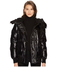 The Kooples Technical Satin And Faux Fur Black Women's Coat