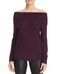 Bloomingdale's C By Off The Shoulder Cashmere Sweater Eggplant
