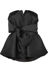 Alexis Mabille Bow Detailed Satin Twill Top Black