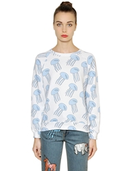 Au Jour Le Jour Jellyfish Print Heavy Cotton Sweatshirt Light Blue