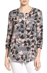 Nydj Women's Henley Blouse Holly Houndstooth