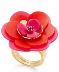 Kate Spade New York Gold Tone Pink Crystal Accent Flower Ring Pink Multi